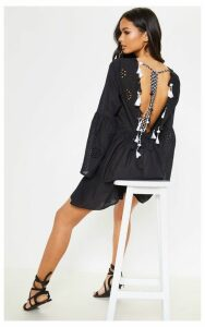 Black Tassel Back Broderie Anglaise Smock Dress, Black