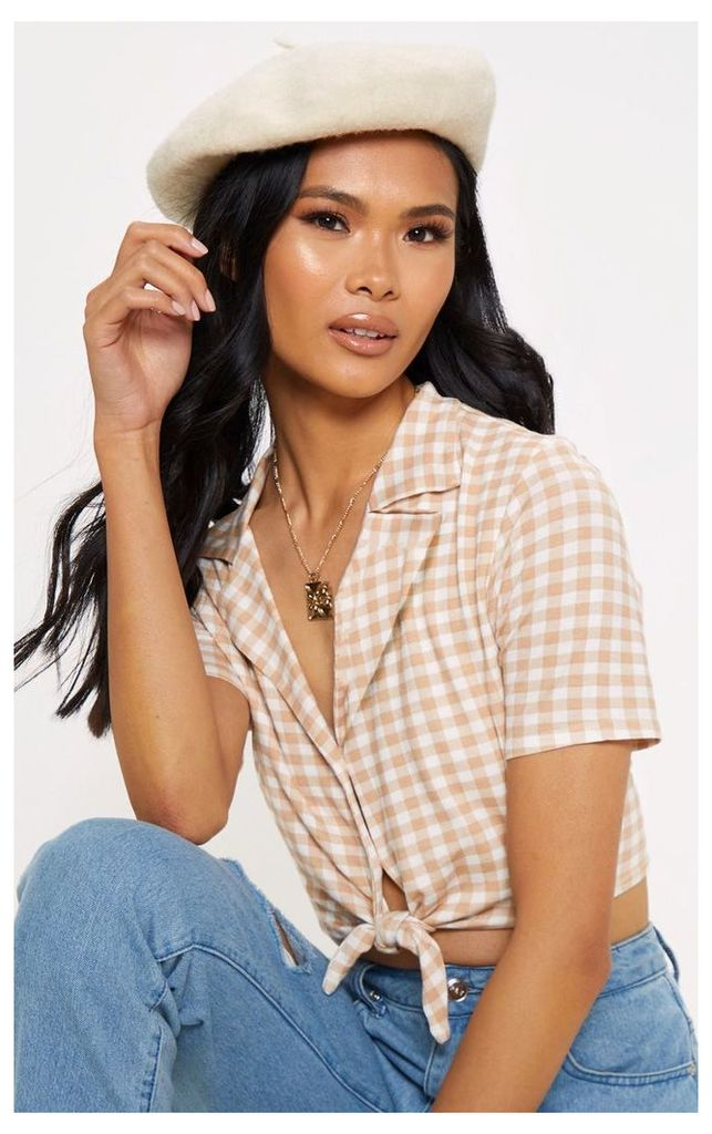 Brown Gingham Knot Front Crop Shirt, Brown