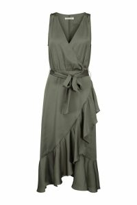 Womens Sofie Schnoor Khaki Wrap Ruffle Dress -  Green