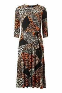 Womens Dorothy Perkins Tall Animal Print Dress -  Black