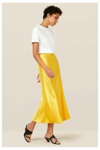 Womens Finery London Yellow Alberte Satin Midi Skirt -  Yellow