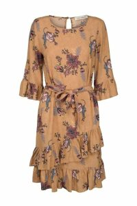 Womens Sofie Schnoor Nude Floral Ruffle Dress -  Nude