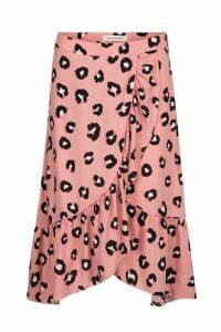Womens Sofie Schnoor Rose Leopard Wrap Midi Skirt -  Pink
