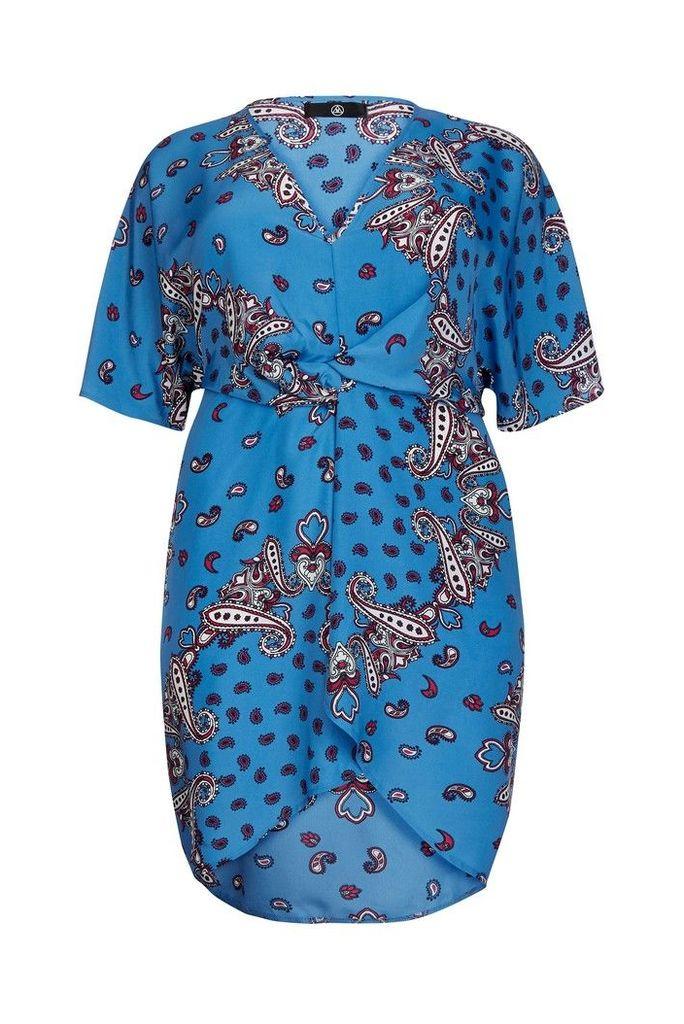 Womens Missguided Curve Twist Front Midi Dress -  Blue