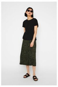Womens Warehouse Green Khaki Animal Print Midi Skirt -  Green