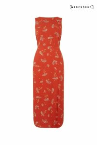 Womens Warehouse Red Dandelion Print Midi Dress -  Red