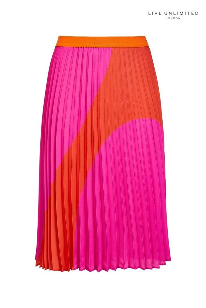 Womens Live Unlimited Red/Pink Spot Pleated Skirt -  Pink