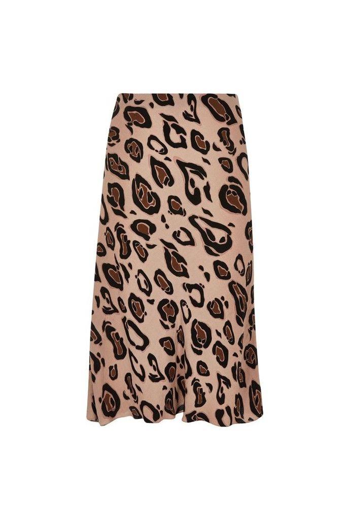 Womens River Island Curve Leopard Print Bias Skirt -  Animal