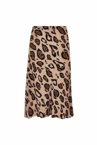 Womens River Island Curve Leopard Print Bias Skirt -  Animal