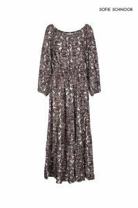 Womens Sofie Schnoor Snake Print Bardot Maxi Dress -  Animal