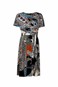 Womens Dorothy Perkins Paisley Scarf Button Midi Dress -  Blue