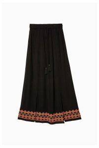 Womens FatFace Black Shoreham Embroidered Maxi Skirt -  Black