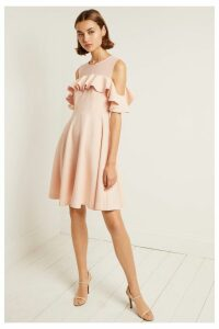 Womens French Connection Pink Alissia Flare Cold Shoulder Dress -  Pink