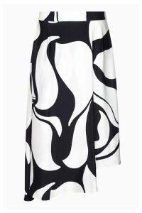 Womens Ghost London Black Olivia Abstract Mono Print Satin Skirt -  Black