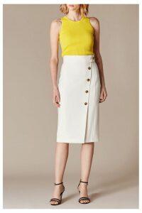 Womens Karen Millen White Sleek & Sharp Summer Collection Skirt -  White