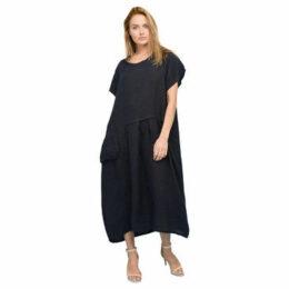 Rodier  Linen short sleeve dress  women's Long Dress in Blue