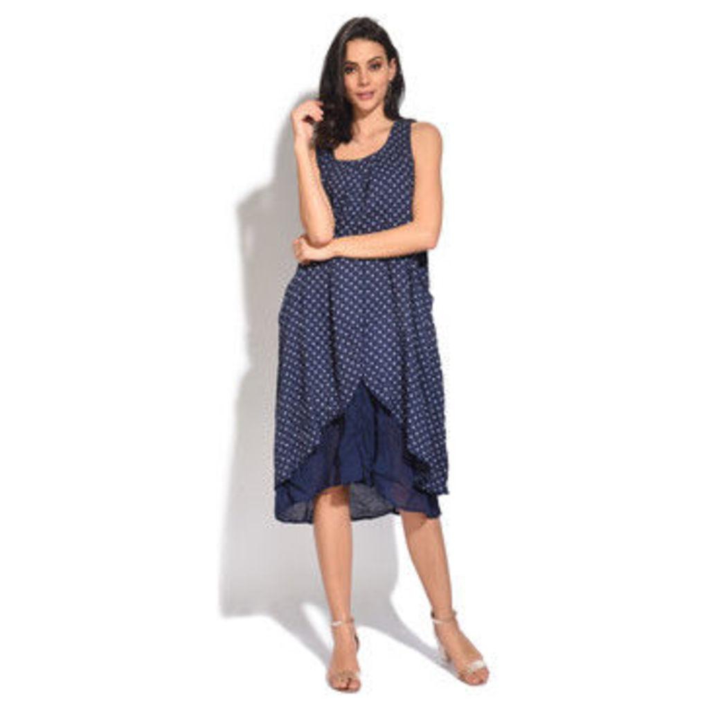 100 % Lin  Dress  women's Long Dress in Blue
