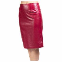 John   Yoko  Fitted skirt in lambskin  women's Skirt in Red