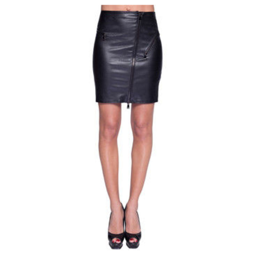 John   Yoko  Stretch lamb leather skirt  women's Skirt in Black