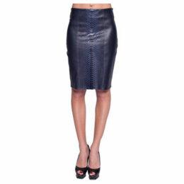 John   Yoko  Lamb and python leather skirt  women's Skirt in Blue