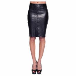 John   Yoko  Lamb and python leather skirt  women's Skirt in Black