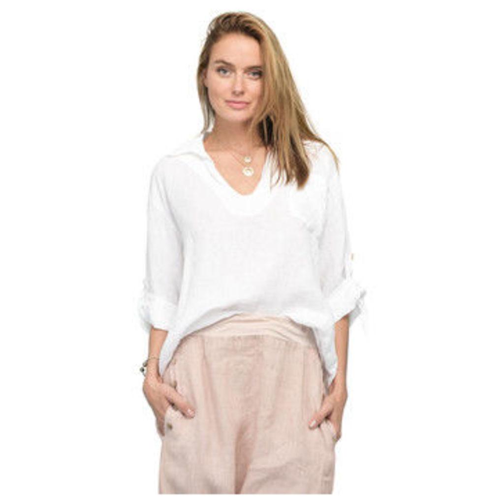 Rodier  Long sleeves linen blouse  women's Blouse in White