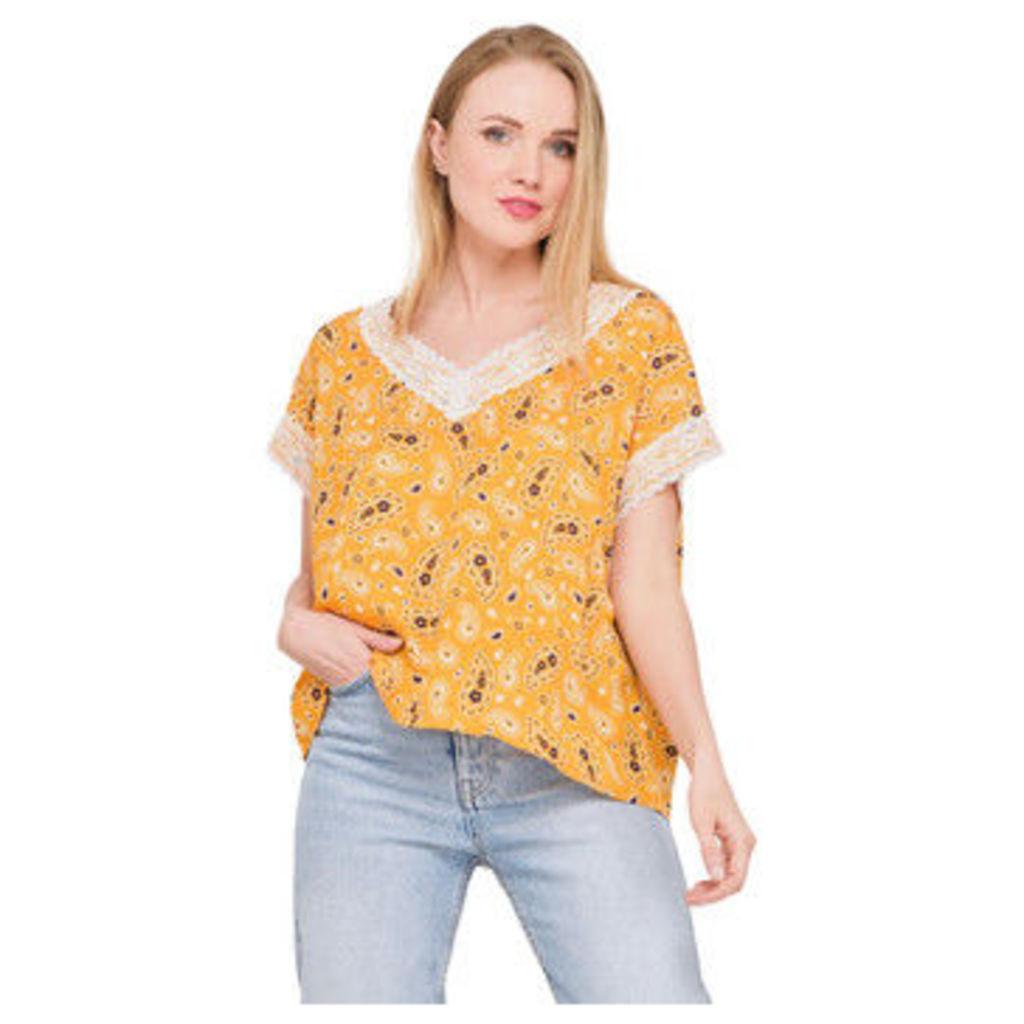 Ben Nino  Bandana printed t-shirt  women's Blouse in Yellow