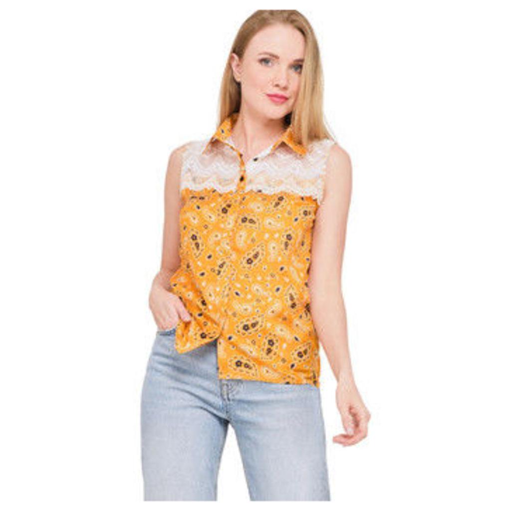 Ben Nino  Bandana printed sleeveless shirt  women's Shirt in Yellow