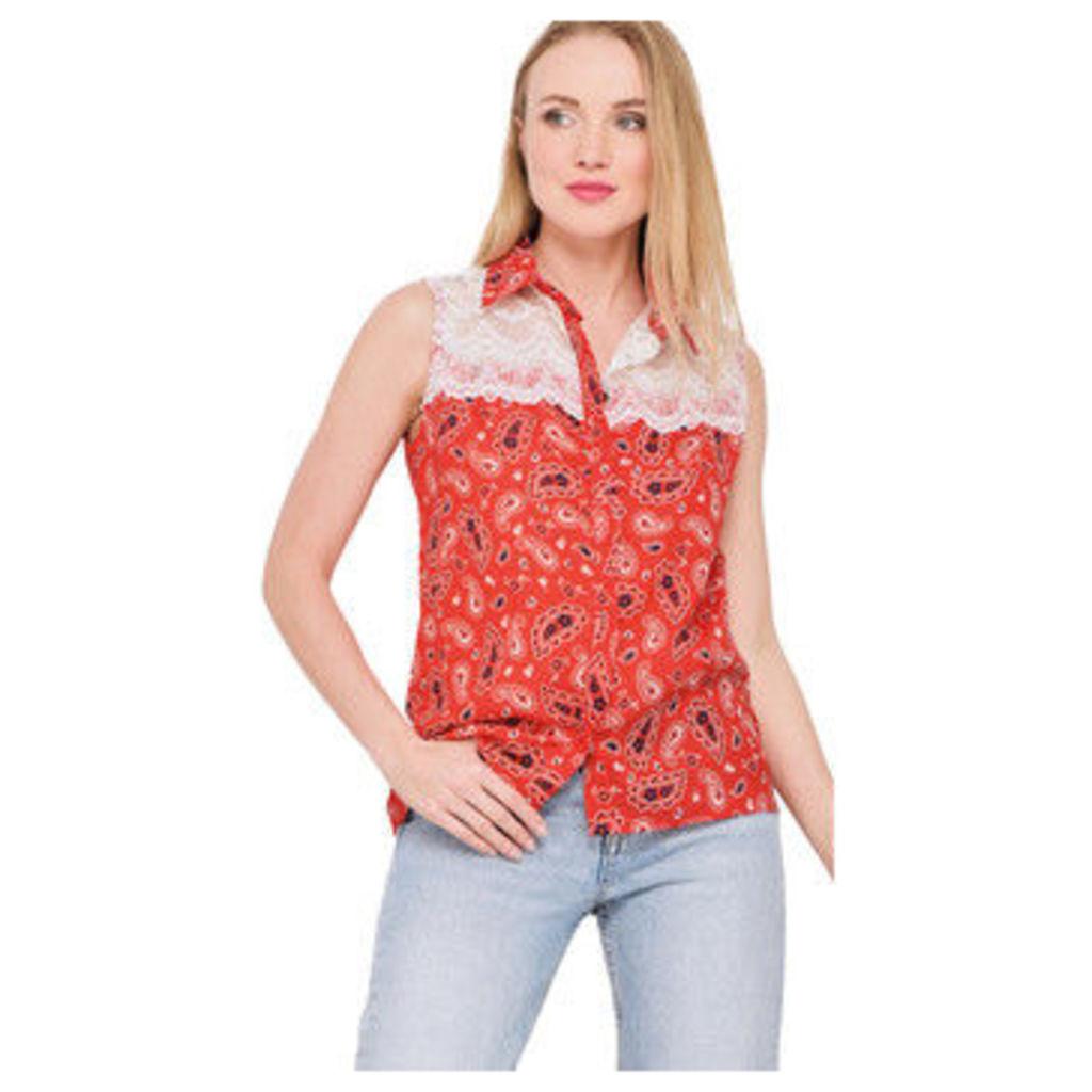 Ben Nino  Bandana printed sleeveless shirt  women's Shirt in Red