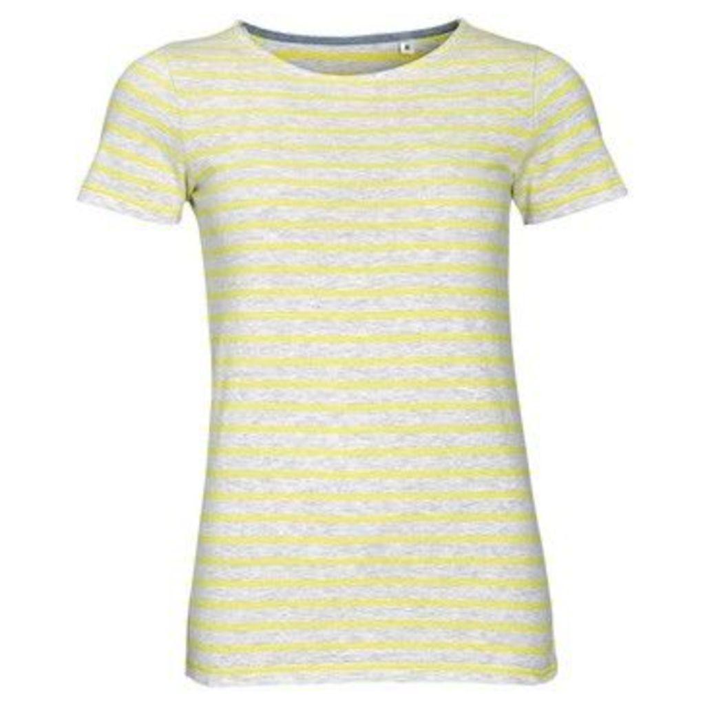 Sols  WomensLadies Miles Striped Short Sleeve T-Shirt  women's T shirt in Grey