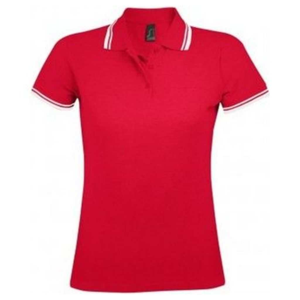 Sols  WomensLadies Pasadena Tipped Short Sleeve Pique Polo Shirt  women's Polo shirt in Red