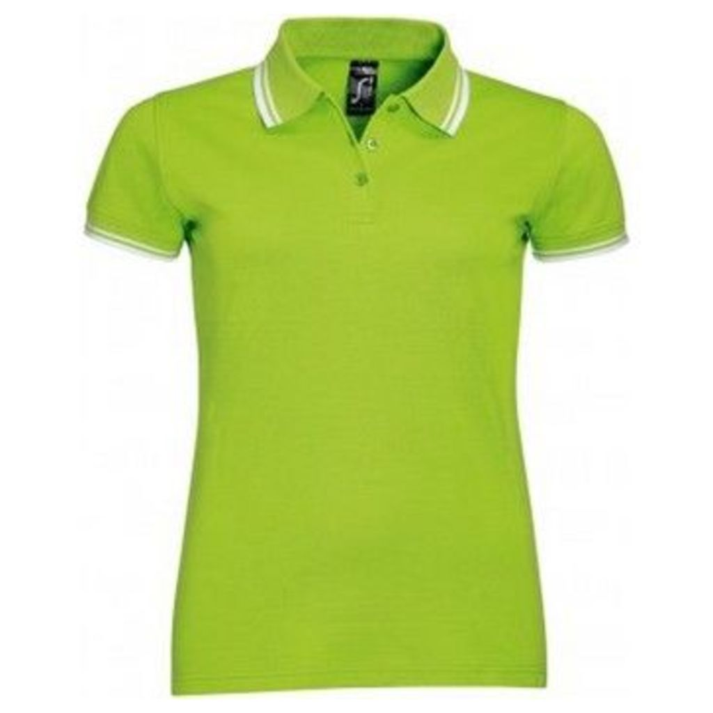 Sols  WomensLadies Pasadena Tipped Short Sleeve Pique Polo Shirt  women's Polo shirt in Green