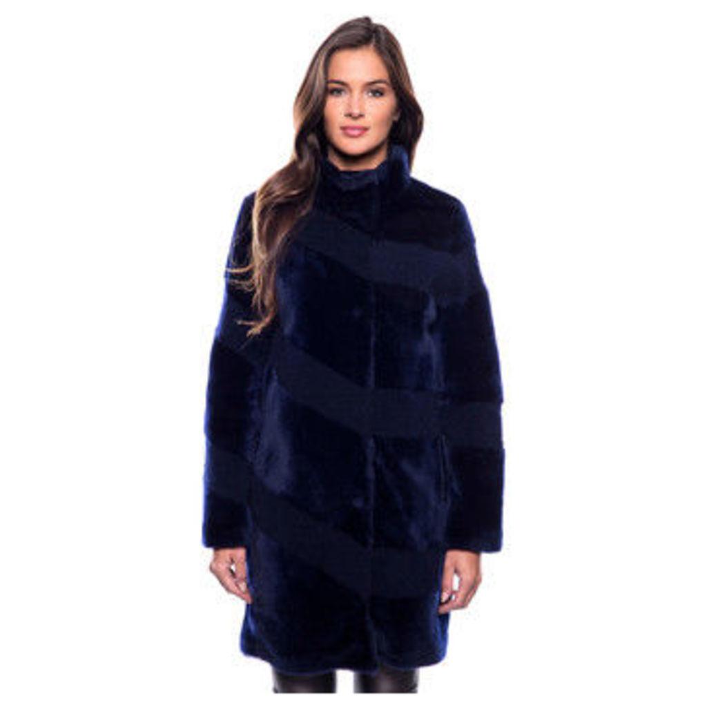 John   Yoko  3/4 coat in double-sided sheep leather  women's Coat in Blue