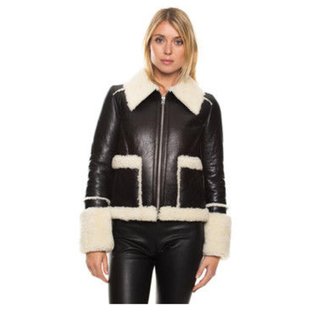 John   Yoko  Sheepskin jacket  women's Parka in Black