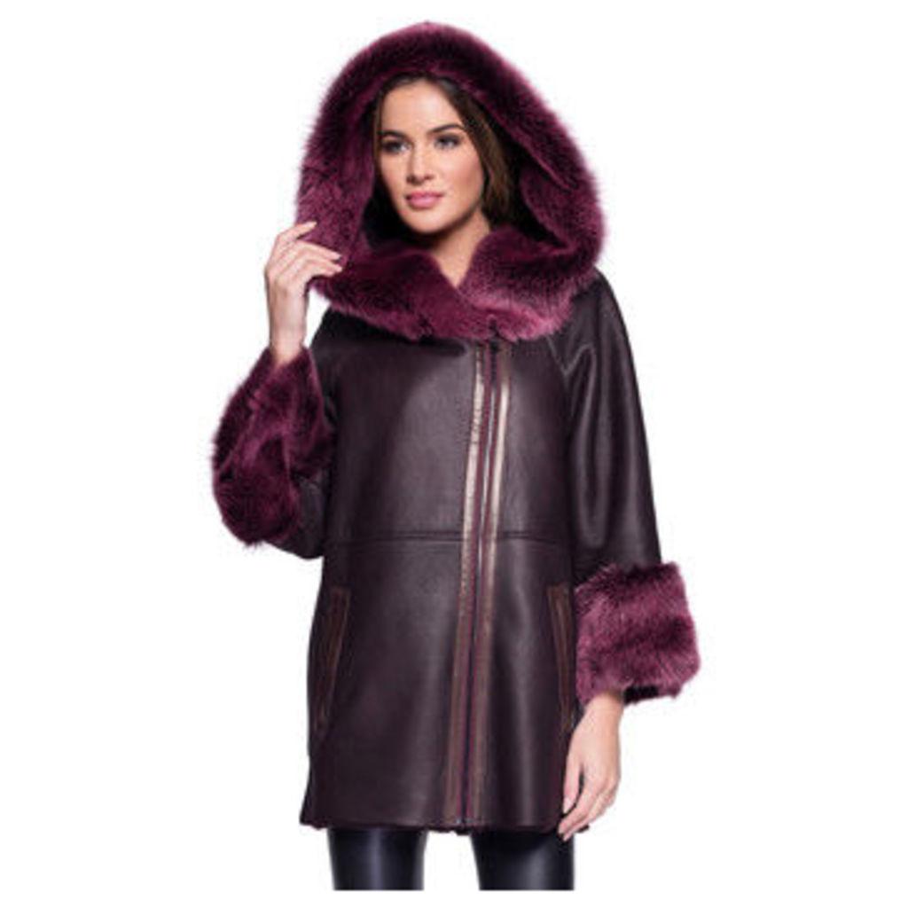 John   Yoko  3/4 coat in lambskin  women's Coat in Red