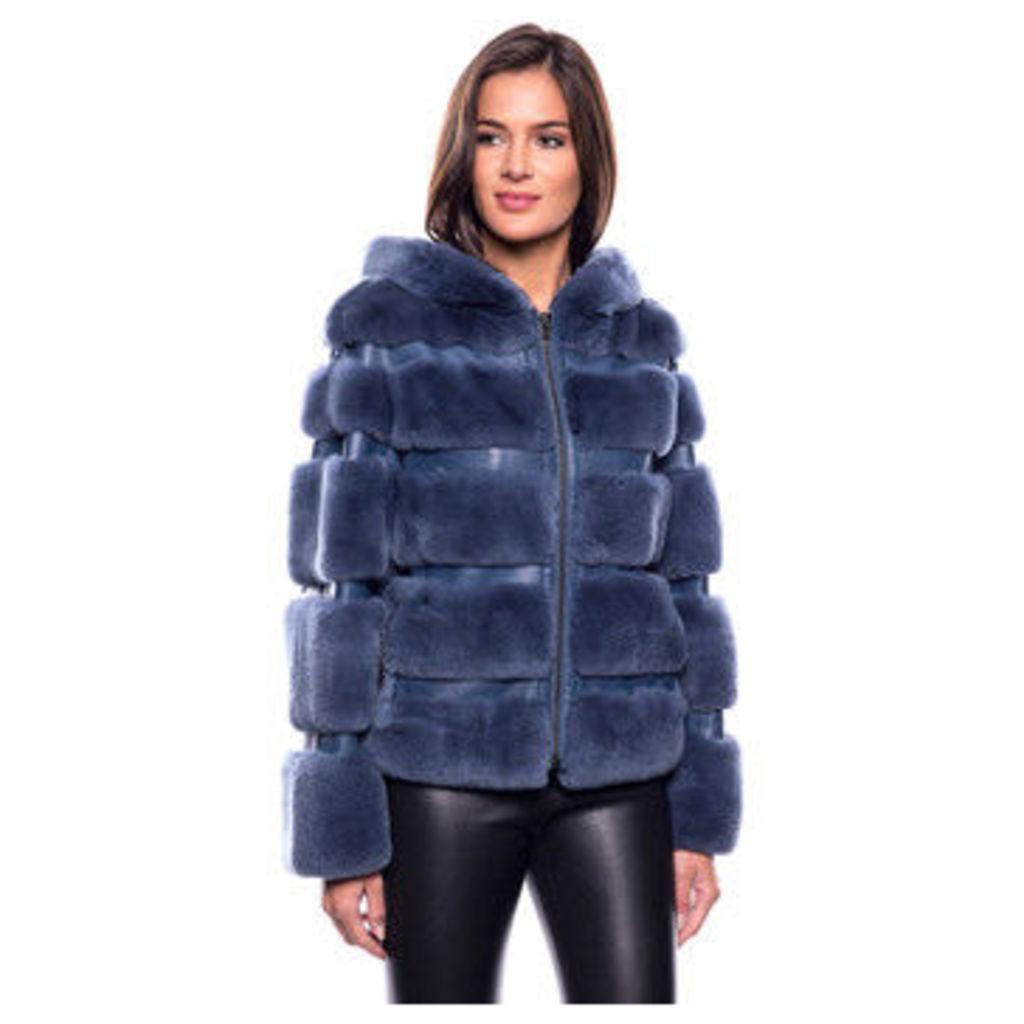 John   Yoko  Short coat in rabbit fur  women's Coat in Blue