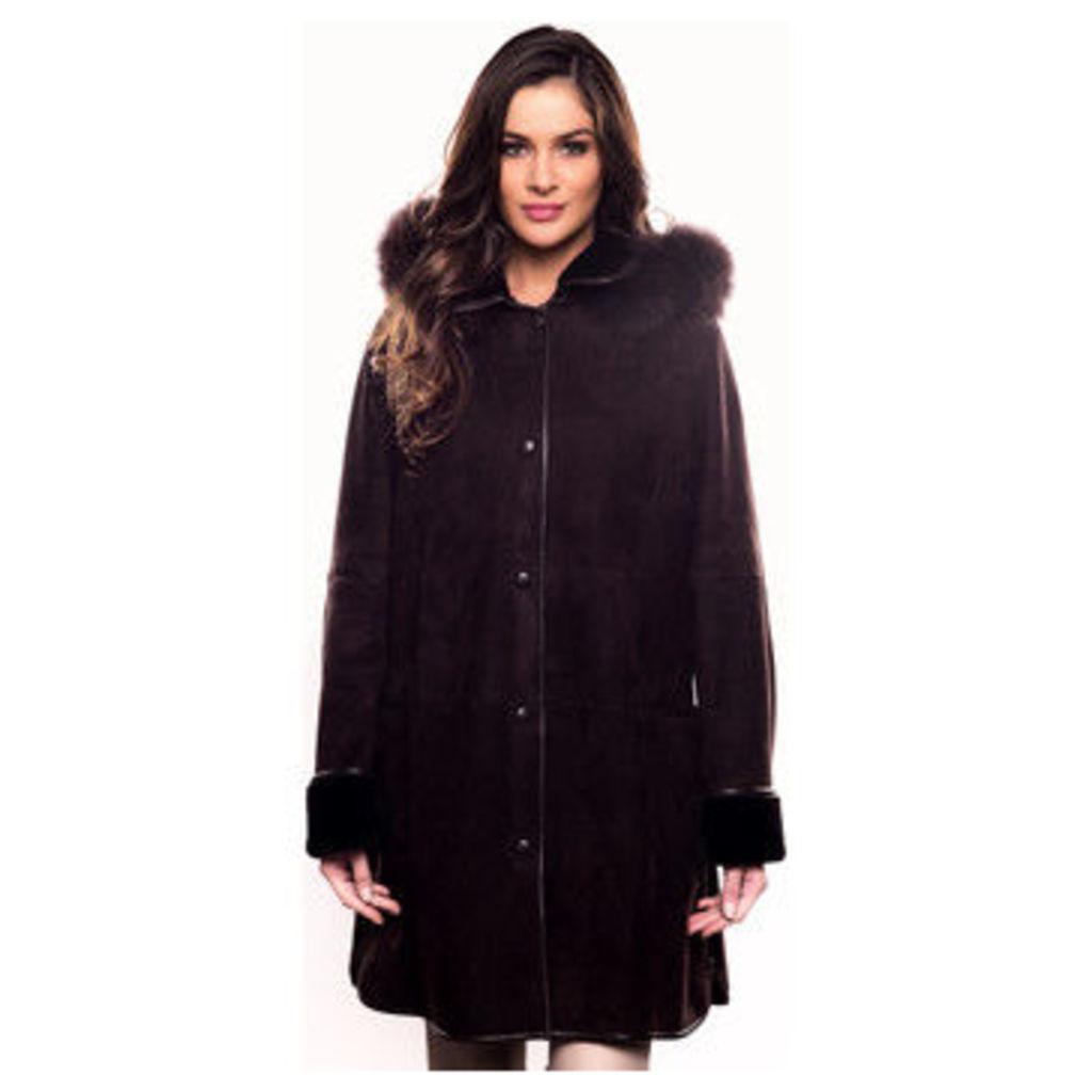 John   Yoko  Hooded lambskin coat with fox fur  women's Coat in Brown
