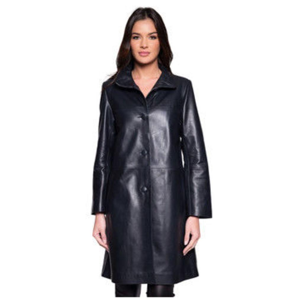 John   Yoko  Long coat in lambskin  women's Coat in Blue