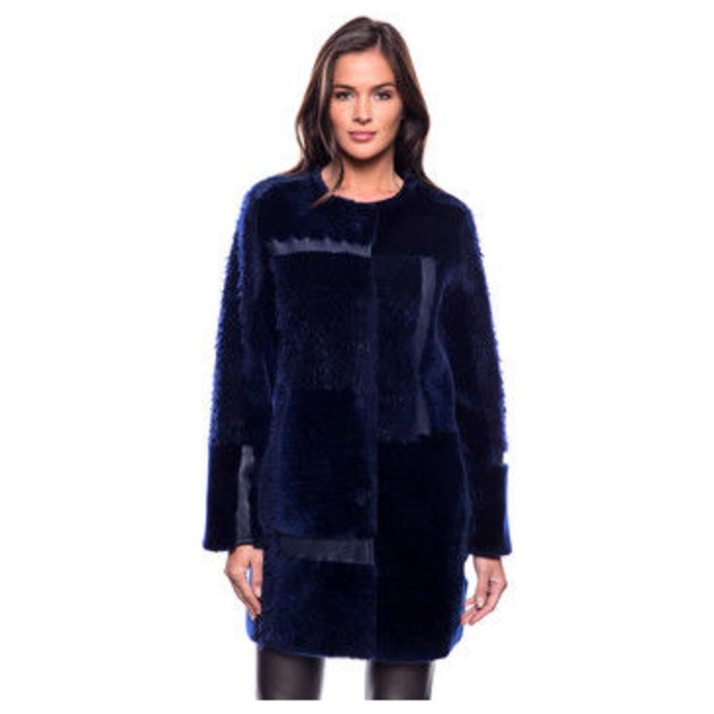 John   Yoko  3/4 coat in reversible double-sided lambskin  women's Coat in Blue