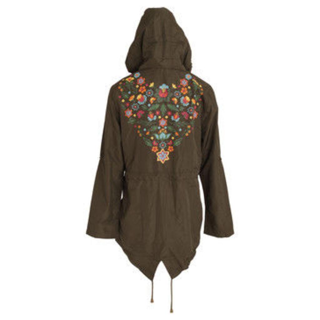 Brave Soul  WomensLadies Merri Floral Hooded Jacket  women's Parka in Green