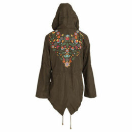 Brave Soul  WomensLadies Merri Floral Hooded Jacket  women's Parka in Green