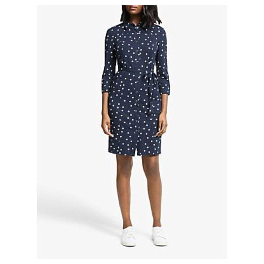 Boden Tara Jersey Cotton Dress, Navy Dot