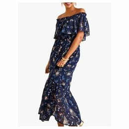 Yumi Dragonfly and Flower Print Bardot Maxi Dress, Blue