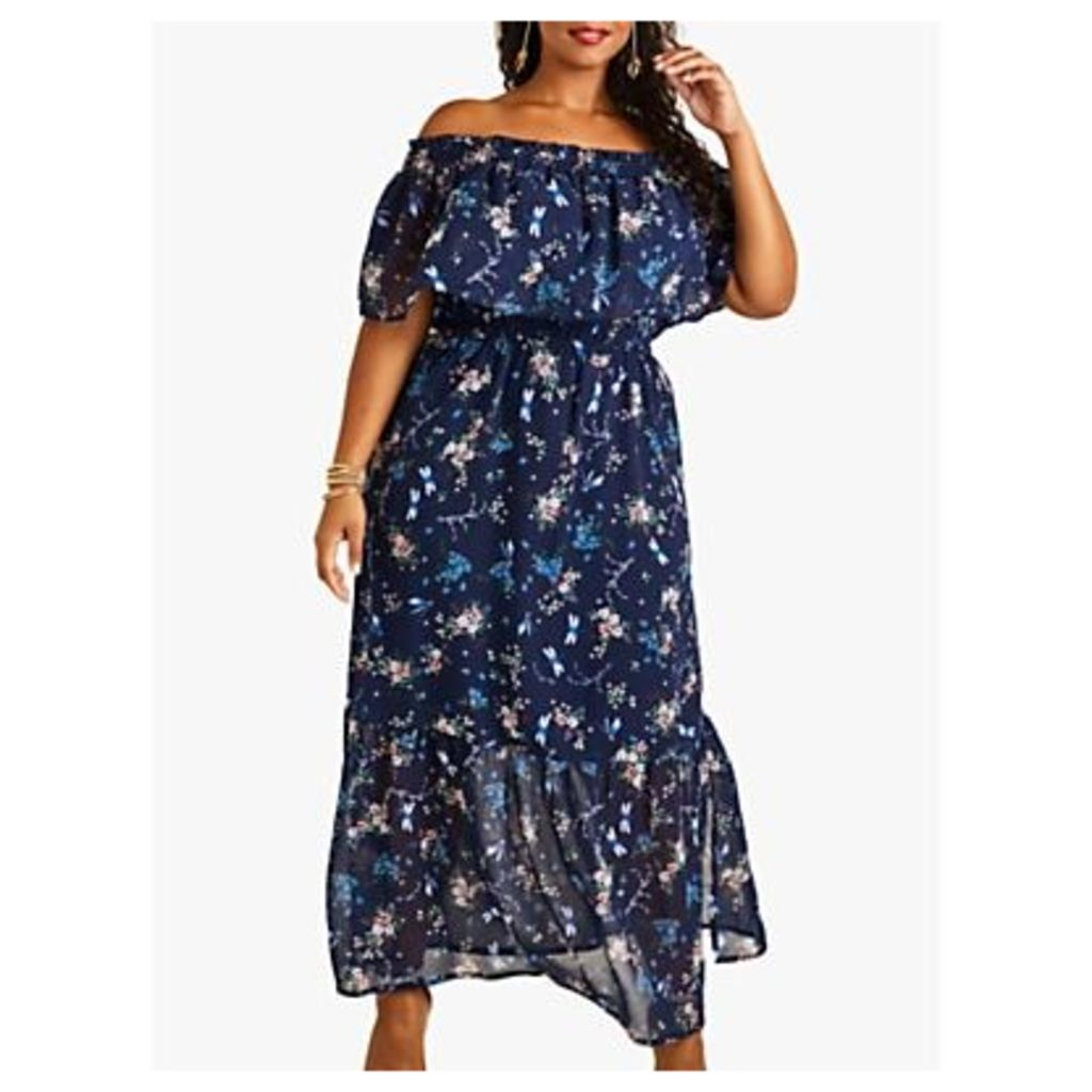 Yumi Curve Dragonfly and Flower Print Bardot Maxi Dress, Navy/Multi