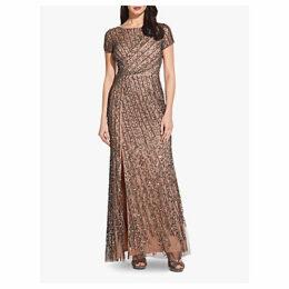 Adrianna Papell Beaded Long Dress, Lead/Nude