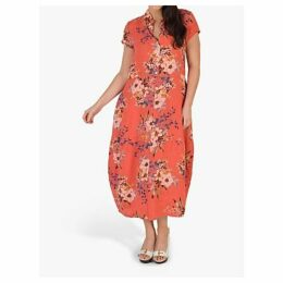 chesca Floral Print Linen Dress, Coral