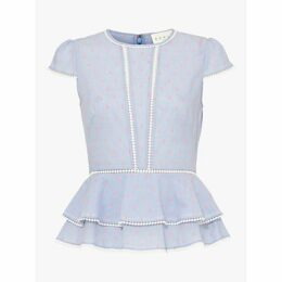 Damsel in a Dress Elmira Dot Detail Blouse, Blue/Pink