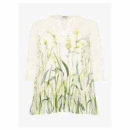 Studio 8 Emily Floral V-Neck Cotton Top, White