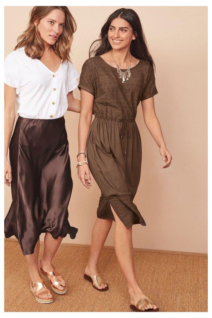 Womens Next Brown Broderie Dress -  Brown