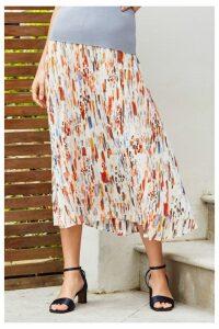 Womens Next Pastel Print Pleated Skirt -  Cream